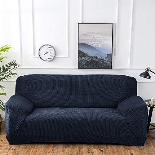 Baif copridivano tinta unita coprisedili elasticizzati coprivasi sfoderabili e lavabili coprivasi per soggiorno divano angolare 1/2/3-seater (90-300cm), blu scuro, 3seater 190-230cm