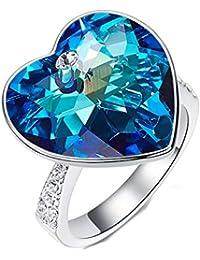 Crystals - Anillo de boda para mujer, diseño de corazón, romántico