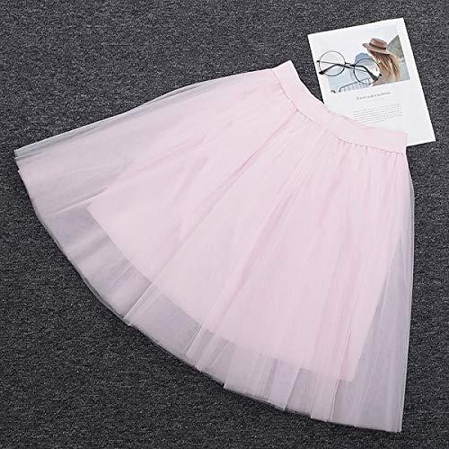 NVDKHXG 5 Schichten 60 cm Midi Tüll Rock PrinzessinFrauen Erwachsene Tutu Mode Kleidung Faldas Saia Femininas Jupe Sommer Stil One Size rosa (Rosa Tutu Für Frauen)