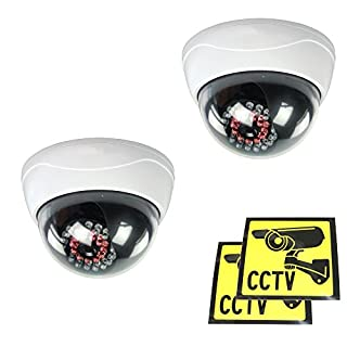 Ex-Pro Dummy/Fake CCTV Security Dome Camera With built-in Multi IR LED that light up in the dark [2 PACK]