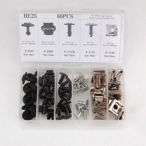 Odster Plastic Rivet Metall Kit Pin Clips Nut Sortiment Kits 60 Motorschutz Pan Hardware Fit f¨¹r Audi A4 S4 VW Passat