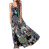Vestido sin mangas bohemia mujer,❤️ la playa del verano del vestido largo sin mangas de la impresión floral de las mujer ABsolute