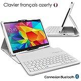 Seluxion - Etui de Protection Blanc avec Clavier Azerty Connexion Bluetooth Pour Tablette Samsung Galaxy Tab 4 10.1 Pouces [Modèles Samsung Galaxy Tab 4 10.1' SM-T530 / SM-T535. Dimensions 176.4 x 243.4 x 7.9 mm]