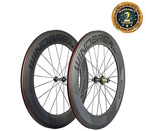 WINDBREAK BIKE 88mm Carbon Clincher Wheelset 700c Road Bike Wheel 23mm Width