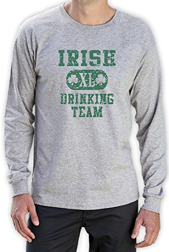 Irish Drinking TEAM high Quality very comfortable Langarm Grau X-Large T-Shirt (Das T-shirt Team Green Von Trinken)