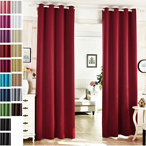 Woltu® # 488–2paio di tende oscuranti con occhielli, pronte, pannelli con coppia di fermatenda per camera da letto soggiorno cucina, tessuto metallo, bordeaux, 53x96in(135x245cm)