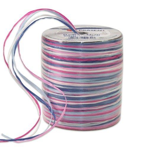Prasent Raffiabast, Rayon, Schleifenband-Bast, 50m, Blau/Mehrfarbig -