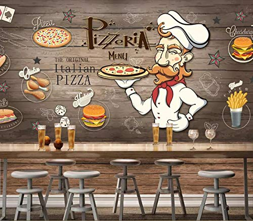 Minyose Customized 3D wallpaper Hand-painted wood grain pizza restaurant personality background wall decoration 3D wallpaper-200cmx140cm Red Brick Pizza