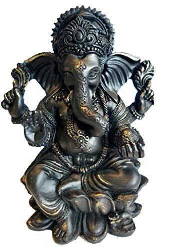 RK Collections Lord Ganesh Statue/Ganesha-Statue, 15,2 cm, Mattes Schwarz und gebürstetes Bronze-Finish Premium Statue aus Marmorpulver - Mini-bronze-finish