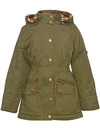 Urban Republic Little Girls Olive Zipper Detail Leopard Hood Trendy Coat 4-6X