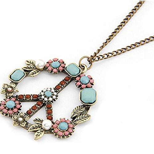 Malloom®1 piezas bohemio mujer retro perla Símbolo de la Paz collar colgante de cadena