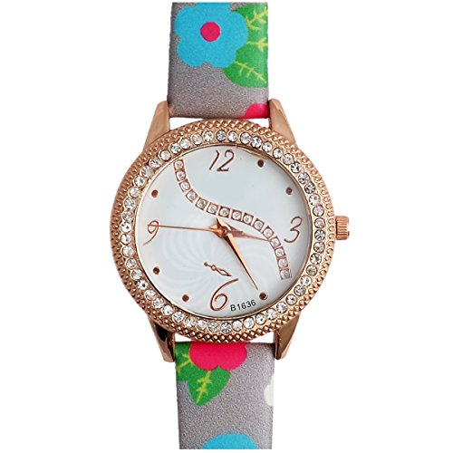 Super Drool ST2492_WT_GREY Fancy Floral Analog Watch For Girls