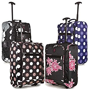 38L Cabin Hand Luggage Trolley Bag Travel Flight Suitcase Small 2 Wheeled Holdall Retractable Pull Handle from Compass