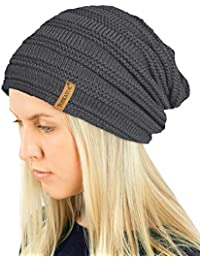 e7b3e30b2e7 TOSKATOK® Ladies Mens Unisex Warm Winter Textured Knit Slouch Beanie hat  with Cosy Faux Fur