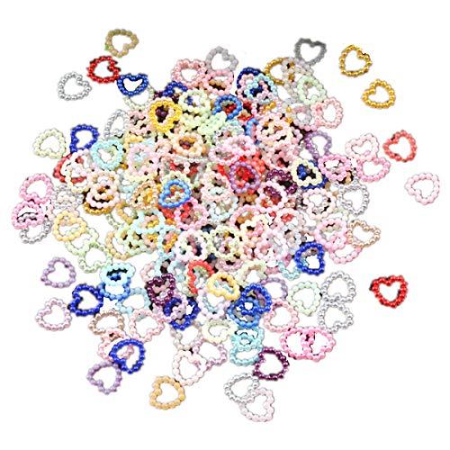Lot de 500 perles en forme de cœur en ABS pour loisirs créatifs, accessoires de scrapbooking, décoration de téléphone, perles, perles en vrac, perles en vrac, bricolage, style 1