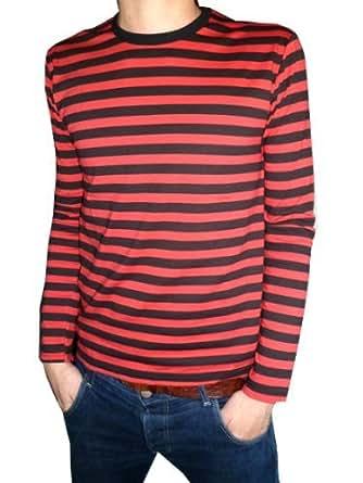 herren t shirt langarm gestreift schwarz rot s m l xl. Black Bedroom Furniture Sets. Home Design Ideas