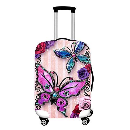 """Xinvision Elastico Farfalla Stampato Trolley Case Luggage Bagaglio protettore Borsa Viaggio Valigia Copertina Anti-polvere Resistente ai graffi Si adatta 18"""" a 28"""" (Valigia non inclusa)"""