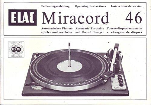 ELAC Miracord 46 Automatischer Plattenspieler Bedienungsanleitung