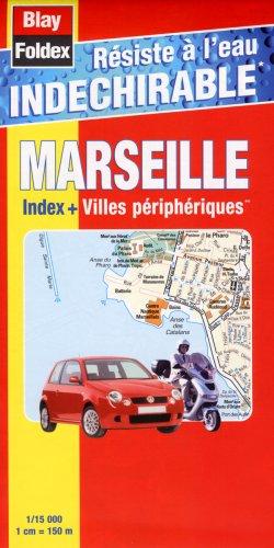 Carte routière : Marseille et villes périphériques (avec un index et résistant à l'eau, indéchirable)