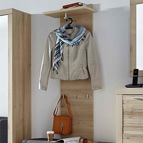 e-combuy Möbel Garderoben-Paneel in Buche hell, 1 Boden mit Kleiderstange, 3 Garderobenhaken, Breite 50 cm, Höhe 150 cm, Tiefe 29 cm