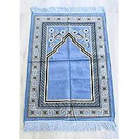 Al Salem Carpet Velour Soft velvet prayer mat Prayer Area Rectangle 67 CM X 110 CM 0.30 KG Blue Classic