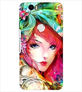 PrintDhaba CUTE GIRL D-6283 Back Case Cover for HUAWEI NEXUS 6P (Multi-Coloured)