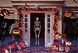 YongFoto 2,2x1,5m Fondo de Fotografia Lámparas de Calabaza de Halloween Disfraz de SCA de Esqueleto Scary de Hojas de Oro Telón de Fondo Fiesta Niños Baby Personal Estudio Fotográfico Accesorios