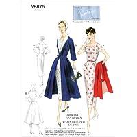 Vogue Patterns V8875 - Patrones de costura para vestidos con cinturón y abrigos con cuello de quita y pon de mujer (tallas 36 a 44)