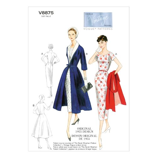 Vogue Patterns V8875 Size B5 8-10-12-14-16 Misses' Dress Belt Coat and Detachable Collar