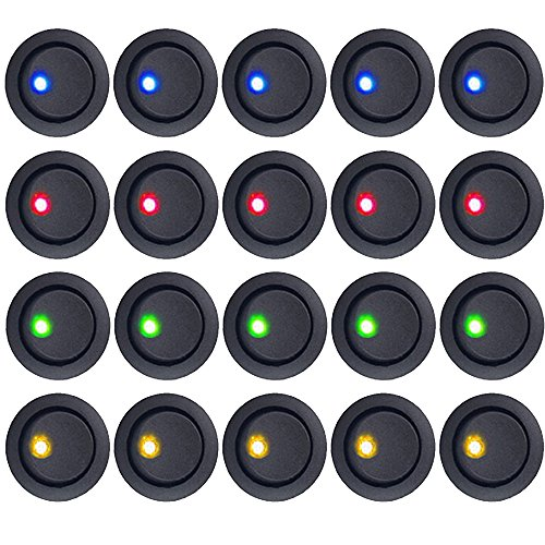 E Support™ 20Pcs 12V Auto KFZ Schalter EIN/AUS Wippenschalter Kippschalter LED Beleuchtet Schalter Blau Rot Grün Gelbe -