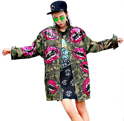 Damen Patches Camouflage Denim Jacke Parka m Bomberjacke h Jeansjacke übergangsjacke Lederjacke Blazer Freizeitjacke Basic Vintage Jeans Mantel (Unisex (Einheitsgröße - Oversize), Camouflage)