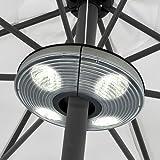 Lampada per ombrellone - 4 spot per un totale di 16 LED + gancio per appendere la lampada al gazebo, alla tettoia...