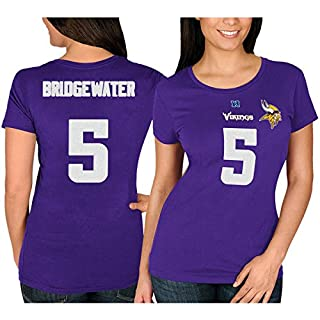 NFL Football T-Shirt Damen Women MINNESOTA VIKINGS Teddy Bridgewater #5 lila in L (LARGE)