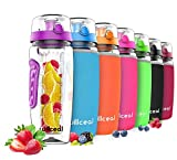 Fruit Infuser Water Bottle 32oz Durable, Large - Bpa Free Tritan, Flip Lid