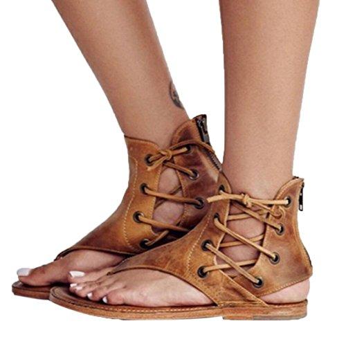 Hot Sale!Sandalen Damen, Sonnena Frauen Preis flachen Boden Riemchensandalen Knöchel flache Riemenschuhe PU / Fest / Draußen / Gummi / Flach / Basic / Casual Anlass (Sexy Gelb, EU:37)