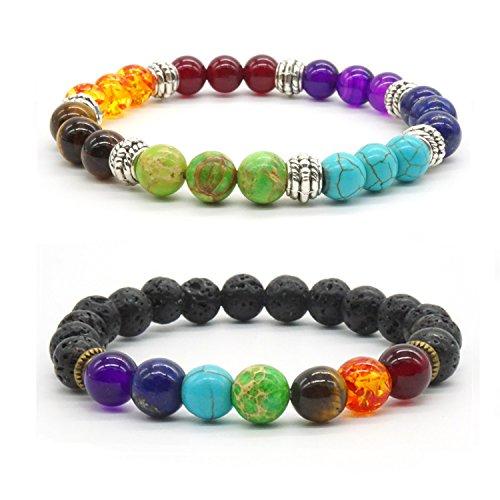 Achat Perlen 7 Chakras Energie Stein Armband Yoga Healing Balance Stein Armkette Elastisches Steinarmreif (Colour4) (Mädchen Balance)