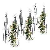 6x Rankturm, Garten Obelisk, freistehende Rankhilfe für Kletterpflanzen, Ranksäule, Metall, HBT 192 x 35 x 35 cm, grün