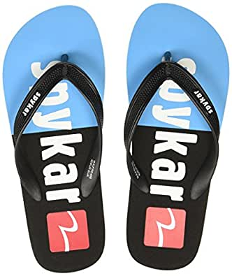 Spykar Men's Black/Sky Flip-Flops-6 UK/India (40 EU) (SPY-SL-01AH-1003)