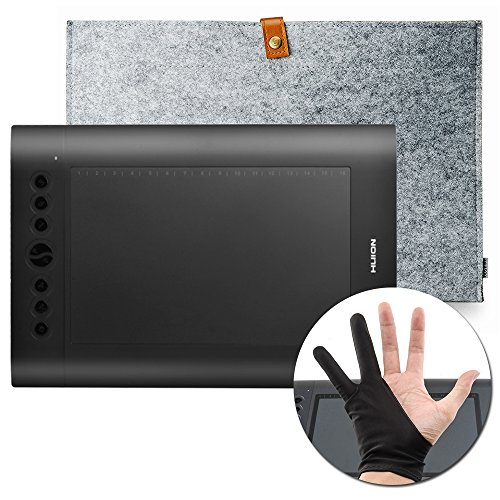 Huion H610 Pro Graphics Drawing Tablet + anti-fouling golve + 38,1 cm Wollfilz rutschsicher Tasche