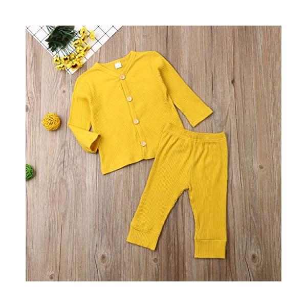 Conjunto de pijama de manga larga con botones y pantalones largos, de algodón de dos piezas 2