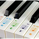 Piano Stickers for 49/61/76/88 Key Keyboards - Transparent and Removable with Free Piano Ebook