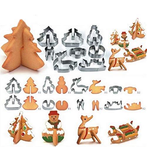 FantasyDay Ausstechformen Edelstahl Ausstecher Set, 8 Stück 3D Weihnachten Thema Keksausstecher Plätzchen Ausstecher für Motivtorten Tortendeko Backen Küche Zubehör - Kinderleicht & Wunderschön