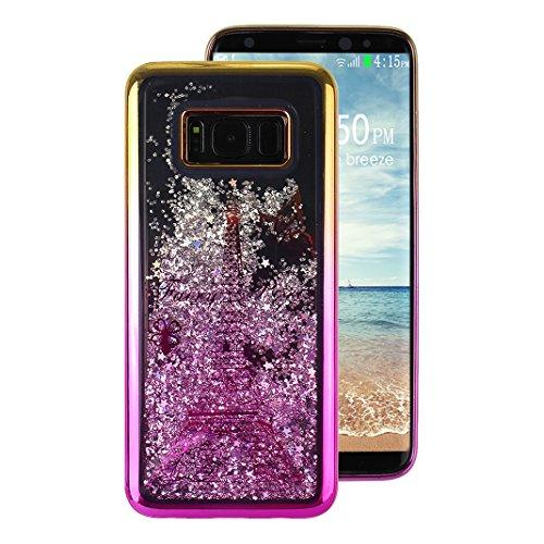 Galaxy S8 Plus Backcover, Rosa Schleife Glitzer Flüssig Wasser Gradient Hülle für Samsung Galaxy S8 Plus / S8+ Silikon Schutzhülle Liquid Plating Case Bumper Shiny Glanz Sparkle Cover mit Lila Eiffelturm
