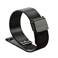 Elonglin Stainless Steel Bracelet Watchbands Watch Straps for Men Women Mesh Solid Links 12mm Black