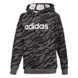 adidas Jungen Linear Hood Kapuzen-Sweatshirt, Dark Grey Heather/Black/White, 110