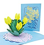Dankes- & Glückwunschkarte mit extra Seite für Grüße - einzige 3-seitige Klappkarte zur Gratulation & Danksagung - liebevolle 3D Pop-Up Karte mit Blumen-Strauß