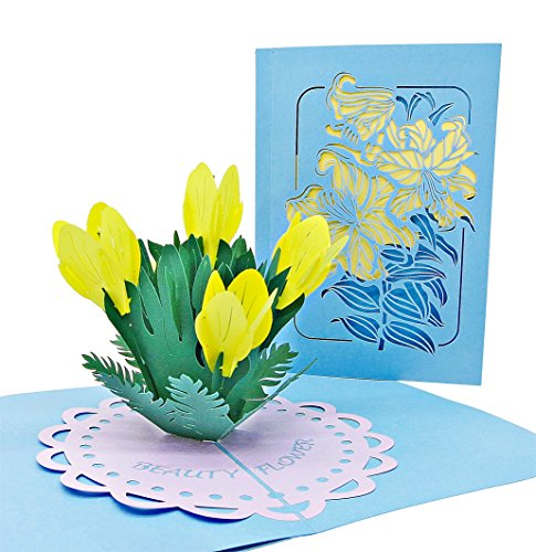 Dankes- und Glückwunsch-Karte mit extra Seite für Grüße, einzige 3-seitige Klapp-Karte zur Gratulation & Danksagung, liebevolle 3D Pop-Up Karte mit Blumen-Strauß