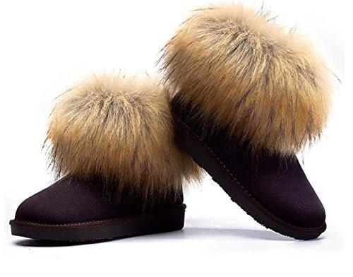 Wealsex Bottes Fourrées Doublée Chaleureux Botte De Neige Cheville Classique Mode Uni Couleur Pur Plate Chaussure De Coton Chaussures d'hiver Grande Taille 39 40 Femme Café