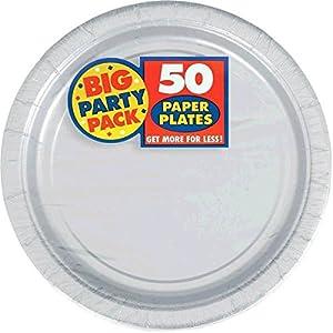 """amscan-Silver Dinner Paper 23cm Value Pack-50 Pcs Platos de Papel de Color Plateado, 23 cm, 50 Unidades, 9"""" x 9"""" (AMI 650013.18)"""