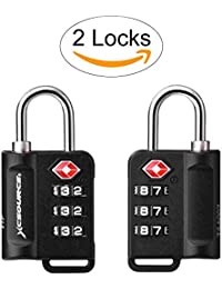 XCSOURCE TSA Cadenas 2 paquets Avec l'indicateur d'alerte ouvert Valise Bagage Sac de voyage Cadenas de sécurité à combinaison à 3 chiffres XC402